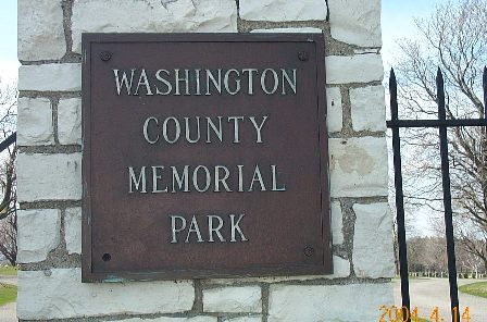Washington County Memorial Park Sign in West Bend, WI